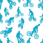 Seamless ride bicycle pattern background vector — Stock Vector