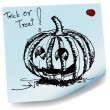 Halloween pumpkin sketch on sticky paper vector — Stock Vector
