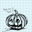 Halloween pumpkin sketch on graph paper vector — Stock Vector