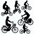 Bicycle Ride Silhouettes vector — Stock Vector