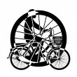 Wheel of ride Bicycle  Silhouette Vector — Stock Vector