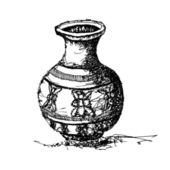 Sketch drawing of antique jar vector — Vector de stock