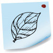 Drawing of leaves on sticky paper vector — Stock Vector