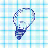 Drawing of light bulb on graph paper vector — Stock Vector