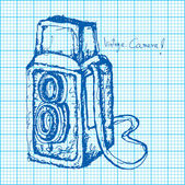 Drawing of vintage camera on graph paper vector — Vector de stock
