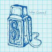 Desenho de câmera vintage no papel de gráfico vetorial — Vetorial Stock