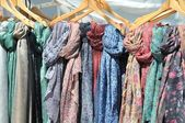 Colored ethnic scarfs — Stock Photo