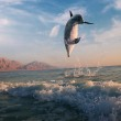 Постер, плакат: Sunrise and dolphin leaping out of sea surface