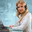 Attractive young blonde girl as online support service — ストック写真