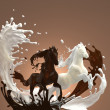 Liquid creamy milky and hot brownish chocolate horses — Stock Photo #13898988