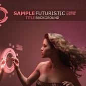Vacker flicka med strömmande hår vidröra virtuellt gränssnitt på futuristisk techno bakgrund — Stockfoto