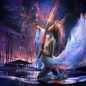 ファンタジーの芸術の美しさの少女魔法の剣を保持させ、空に消える熱帯赤い蝶 — ストック写真