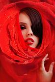 Schönes Gesicht in rote Rosen-Blütenblätter — Stockfoto