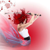 Red hair cartoon style girl attacking with samurai sword katana — Stock Photo