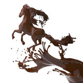 Splashed horse made of brown coffee running isolated on white ba — Stock Photo