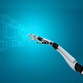 Interface cibernética na mão de sci-fi robô abstrato trabalhando com teclado virtual — Foto Stock