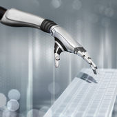 Cybernetic scene on abstract background sci-fi robot hand working with keyboard — Stock Photo