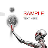 Futuristic design template. Female Robot pushing a techno button on white background isolated — Foto Stock