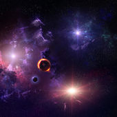 Starfield stardust and nebula space art galaxy creative background — Stock Photo