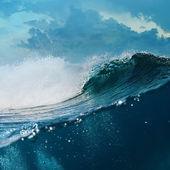Tropische achtergrondgeluid ontwerpsjabloon. bewolkt seaview grote breken surfen oceaan golf in het daglicht met onderwater deel — Stockfoto