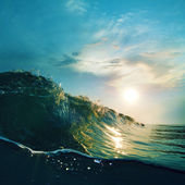 Surfing tropical design template. Green blue colored ocean surfing wave breaking and splashing at sunset time — Foto Stock