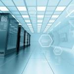 Internet provider server room in futuristic interior — Stock Photo