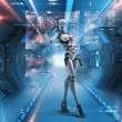 Futuristic female android — 图库照片