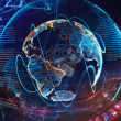High tech digital holographic earth globe — Stock Photo