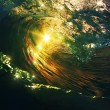 Sunset on the beach with screw ocean wave — Foto de Stock