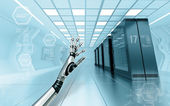 Server room in data center with android metallic hand — Stock Photo
