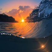 Quebra mar perfeito fechamento onda surf — Fotografia Stock