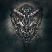 Fantasy portrait of mystic shaman with tribal skull — Stock Photo