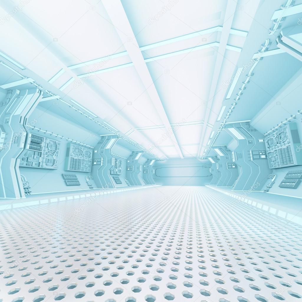 Futuristic Design Spaceship Interior Stock Photo