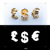 3D currency golden signs — Stock Photo