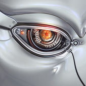 Futuristic bright cyber eye — Stockfoto