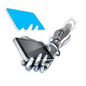 Futuristic robot holding glossy smartphone — Stock Photo