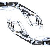 Robot futuriste exploitation smartphone brillant — Photo