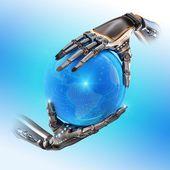 Dwa roboty ręce android — Zdjęcie stockowe