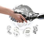Human and robot handshake — Foto de Stock