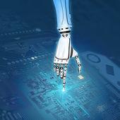 Mano robotica lavorando con circuito stampato — Foto Stock
