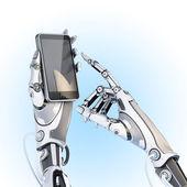 Robot holding glossy smartphone — Stock Photo