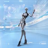 Futuristické ženské android — Stock fotografie