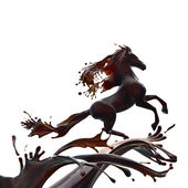 Hot chocolate horse — Stock Photo