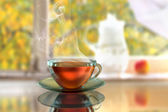 Steamy black tea — Stock Photo