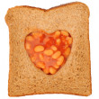 Beans and toast love — Stock Photo