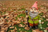 Garden gnome in autumn — Stock Photo