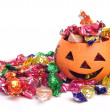 Jackal lantern and candy - Stock Photo