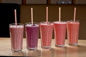 Various shakes in glasses — Stock Photo