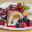 Stock Photo: Pancakes with cottage cheese and berries