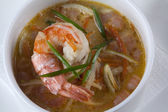 Soup with prawns — Stock Photo